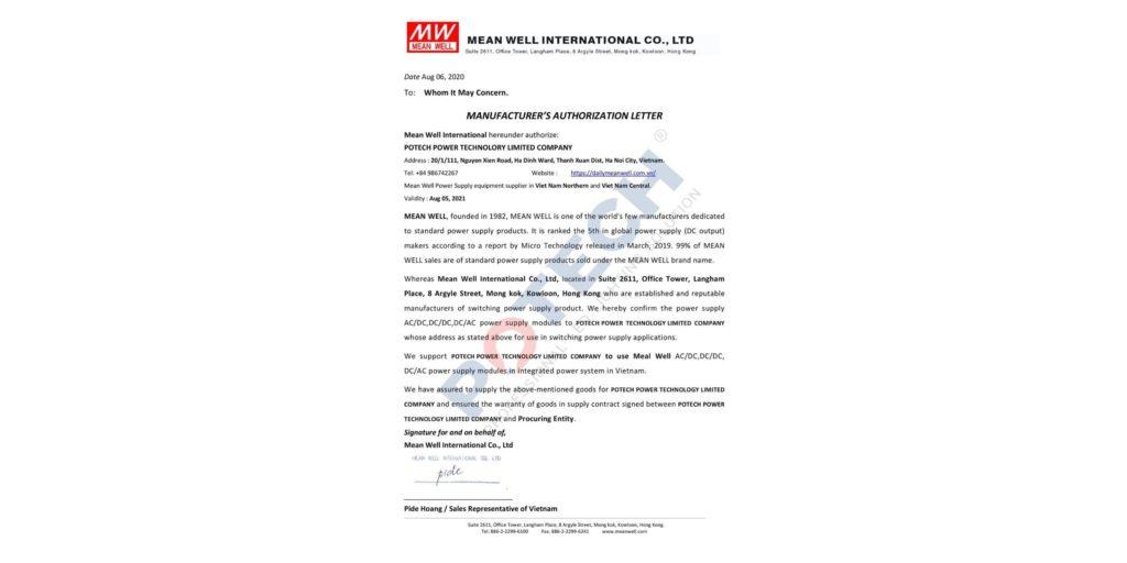 Potech chính thức trở thành đại lý phân phối các bộ nguồn chính hãng của Meanwell tại Việt Nam 2